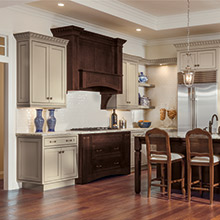 Harmony kitchen cabinets featuring color blocking