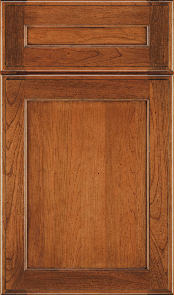 Prescott 5 Piece Cherry Flat Panel Cabinet Door in Bourbon Noir