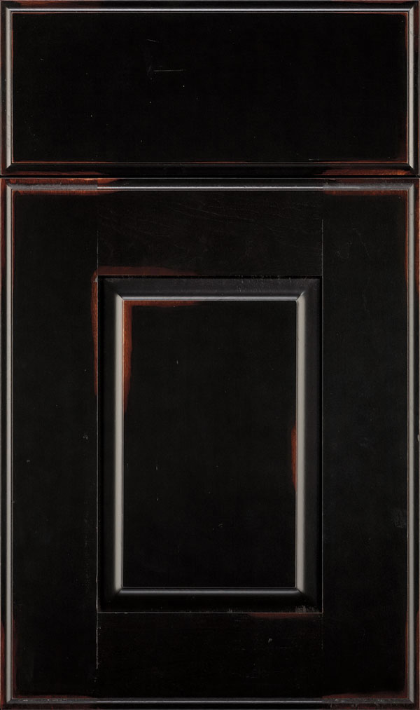 Toulan Maple Raised Panel Cabinet Door in Jet