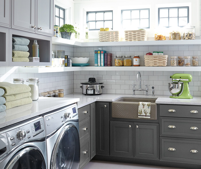 Grey Laundry Room Cabinets
