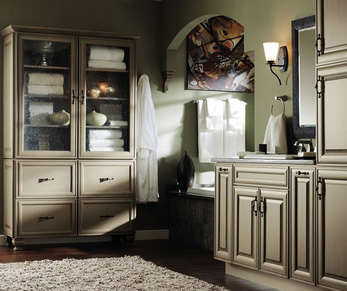 Casual bathroom storage cabinets by Decora Cabinetry