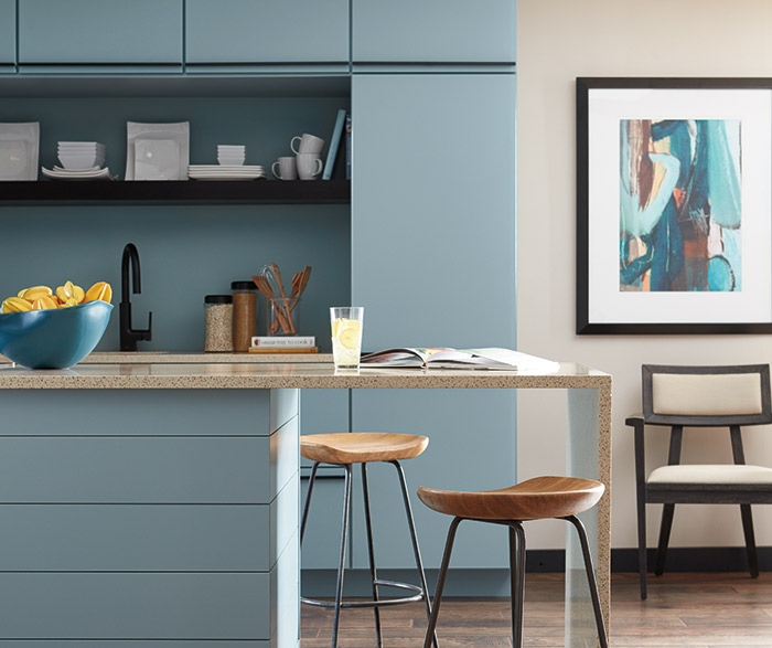 Contemporary Aqua Kitchen Cabinets