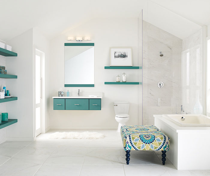 Contemporary bathroom with blue cabinets by Decora Cabinetry