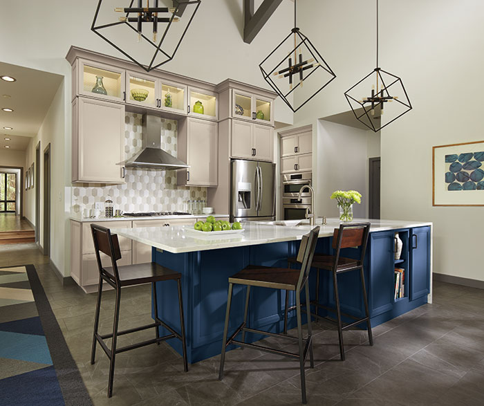 Contemporary Blue and Gray Kitchen Cabinets
