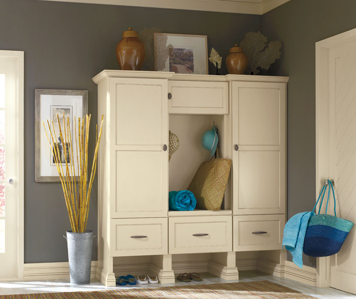 Off white storage cabinet by Decora Cabinetry