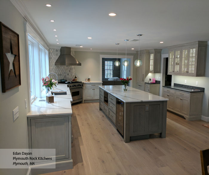 Gray kitchen with inset cabinets