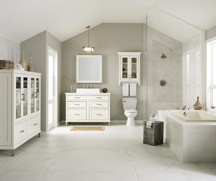 White inset bathroom cabinets by Decora Cabinetry