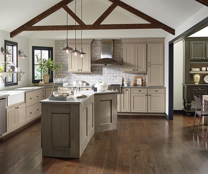 Kitchen cabinets in True Taupe cabinet paint with Angora accents