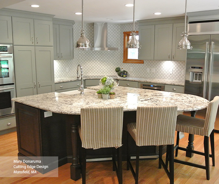 Open kitchen design with painted Maple Artisan cabinets and dark Cherry Maxwell cabinets