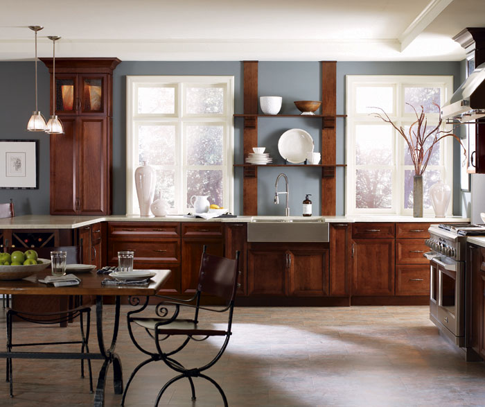 Dark Cherry kitchen cabinets by Decora Cabinetry