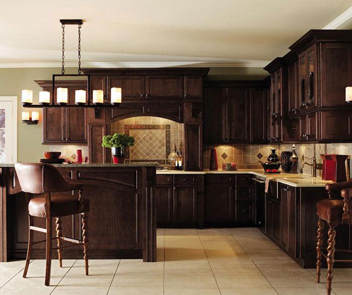 Dark Maple kitchen cabinets by Decora Cabinetry