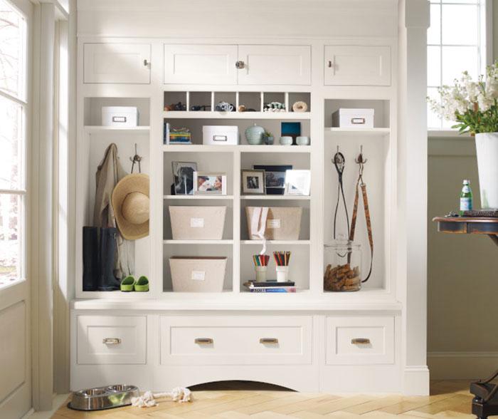 prescott maple white entryway cabinets